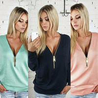 Sexy V-Neck Long Sleeve Bat Sleeve Tops
