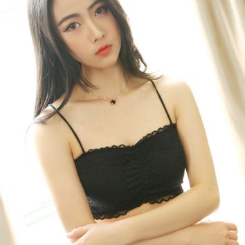 1PC Fashion Sexy Women Ladies Black White Stretch Lace Crop Top Strap Cross Cut Out Padded Backless Bra Tank Bustier Summer