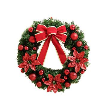 Golden And Red Artificial Christmas Holiday Wreath With Warm LED Lights