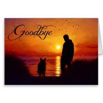 Goodbye Sunset Painting with Man and Dog Greeting Card