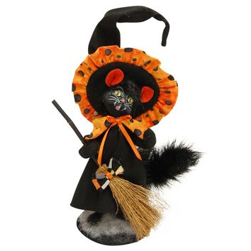 Annalee Dolls 4in 2015 Halloween Checker Dot Witch Cat Plush New with Tags