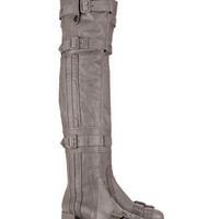 Prada Grey Leather Buckle Thigh High Boots - Farfetch