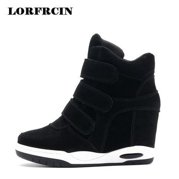 Hot sale Autumn Style Women Shoes Hidden Wedge Heels Boots Women's Elevator Shoes Casual Shoes For Women Ankle Boots LORFRCIN