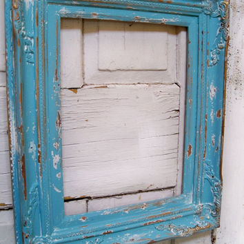 Ornate beach cottage large frame ocean blue wooden heavy distressed wall decor Anita Spero