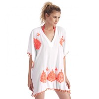 Sole Society Embroidered Caftan With Poms