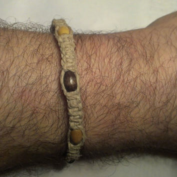 "Handmade 8 1/2"" Hemp Bracelet w/Wood Beads"