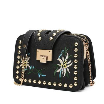 Flower Embroidered Luxury Leather Handbags