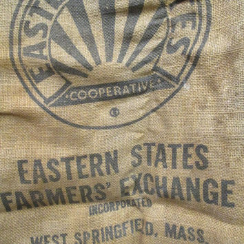 Western States bag, vtg burlap feed sack, Rustic Wedding decor, burlap cutter bag, upcycling project, Wedding supply, animal feed bag, rough