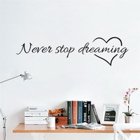 Never Stop Dreaming inspiring Quotes Wall Stickers For Kids Rooms Home Decor DIY Vinyl Wall Art Decal Mural Home decoration