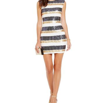 As U Wish Sequin-Embellished Stripe-Pattern Sheath Dress | Dillards