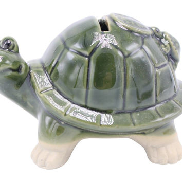 Cute Green Porcelain Ceramic Green Turtle Piggy Bank with 4 Chinese Letters