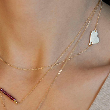 Side Heart Necklace // Personalized Gold or Silver Heart Necklace // Heart Initial Necklace // Silver or Gold Heart LN108