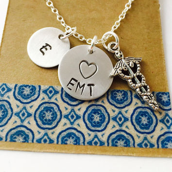 EMT, EMS, Paramedic Hand Stamped Necklace,  Personalized Necklace ,Emergency Medical Technician