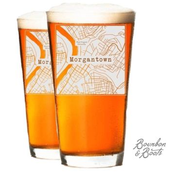 College Town Etched Map Beer Glasses