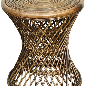 Keala Round Rattan Stool, Light Croco