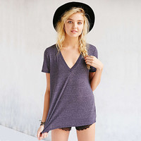 Plain V-Neck Short-Sleeve Shirt