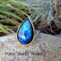 Teardrop Labradorite gemstone, fine and sterling silver ring.