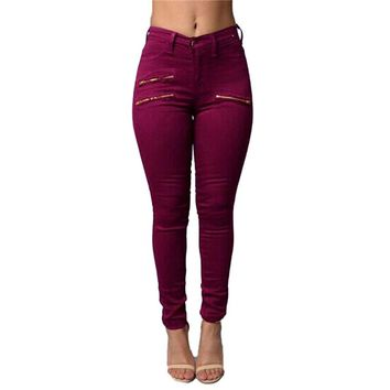 Ripped Zipper Jeans Sexy High Waist Skinny Pencil Pants