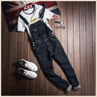 Mens Fashion Black Slim Bib Denim Overalls Jeans For Men Plus Size Male One Piece Denim Jumpsuit Long S-XXL XXXL
