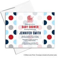Digital baby shower invitation | baby boys shower invite | blue red navy gray | baby carriage | printable or printed - WLP00708