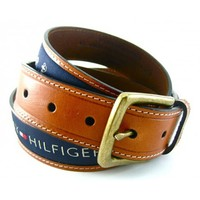 Tommy Hilfiger Ribbon Inlay Brown Leather Blue Inlay Belt