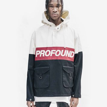 3-Tone Pullover Parka Jacket in Cream/Black/Red