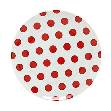 Noble Excellence Polka Dot and Stripe Salad Plates - Red Dot