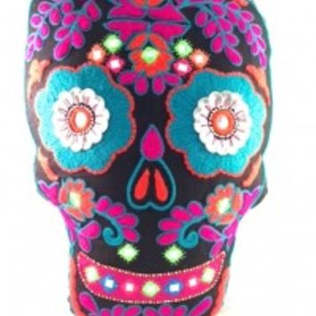 This is a great piece for your home furnishing decor, featuring pretty large size and comfortable beaded & embroidered pillow, filled with felt inside, black color background with multi color sugar skull embroidered detailing at front , and finishing with
