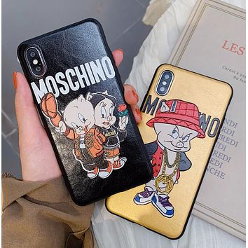 MOSCHINO Newest Leather Cute Little Pig Mobile Phone Cover Case For iphone 6 6s 6plus 6s-plus 7 7plus 8 8plus X XSMax XR