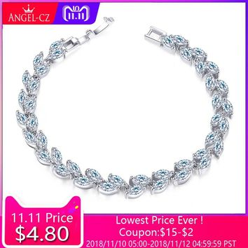 ANGELCZ Fashion Leaves Cut AAA Cubic Zirconia Ladies Tennis Bracelet High Quality Silver 925 CZ Jewelry For Wedding Gift AB113