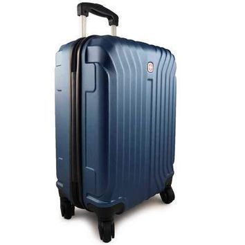 SWISSGEAR Tannensee 20 Inch Hard Side 4-Wheeled Carry-On Luggage - Navy Blue