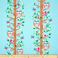 1/2 Yard Quilt Fabric Owlery Teal Blue Owl Butterfly Bird M Miller