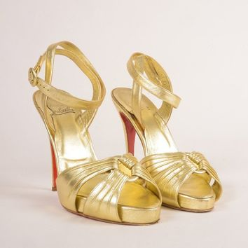 ONETOW Gold Metallic Ankle Wrap  Tenue  High Heel Sandals