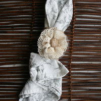 Rustic Burlap Napkin Rings with Lace and Tulle Flowers with Burlap Button Centers ~ Set of Four
