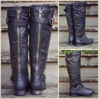 Windy Hills Black Studded Tall Riding Boots
