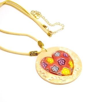 Fun Statement Clay Pendant, Heart Pendant, Wearable Art Pendant Necklace, Affordable Handmade Polymer Clay Jewelry