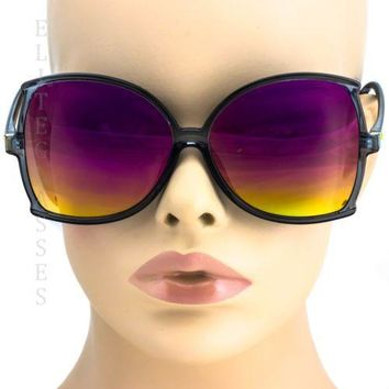 NEW Large Oversized Square Sunglasses Purple Yellow Mirror Retro butterfly Frame