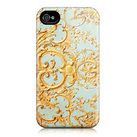 iPhone case for iPhone 4 and 4s (In Stock) - Paris Photograph - Folie -  Feminine, Filigree Pattern, Blue and Gold, Marie Antoinette