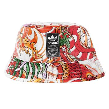 adidas Unisex Originals Rita Ora Dragon Print Red Orange Bucket Hat Cap S87025