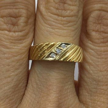 Luxinelle 3 Diamond Yellow Gold Statement Ring 14k by Luxinelle® Jewelry