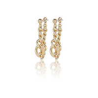 River Island Womens Gold tone chain front and back earrings
