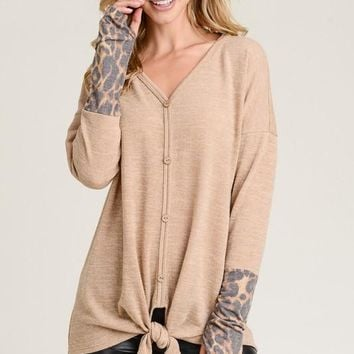 Top with Contrasting Animal Print Cuffs with Thumb Holes - Taupe