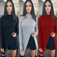 NEW Winter Autumn Cosy Long Shirts Blouses +Gift Necklace