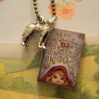 Red Riding Hood And Wolf Charm Necklace. Fairytale Necklace. 18 Inch Chain.
