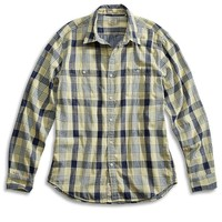 Lucky Brand Gold Dust 2 Pocket Shirt Mens - Yellow Plaid