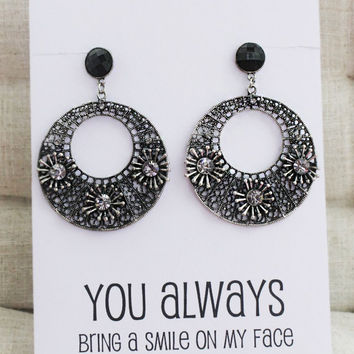 You Always Bring Smile to my Face Gift Card Chandelier Rhinestones Jewelry Family and Friend Gift Woman Fashion Earrings