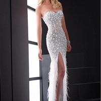 [199.99] Stunning Backless Tulle Sweetheart Neckline Floor-length Sheath Prom Dress - dressilyme.com
