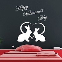 Wall Decal Happy Valentine's Day Heart Rabbits Vinyl Sticker Home Decor Bedroom Art Design Interior NS611