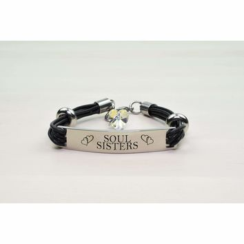 Genuine Leather ID Bracelet with Crystals from Swarovski - SOUL SISTERS