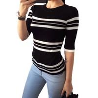 Women's Pullovers White Striped o-neck sweater